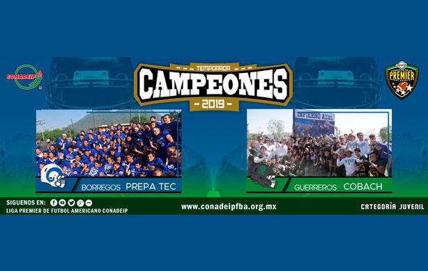 Guerreros Cobach y Borregos Prepa Tec Campeones 2019 FBA Juvenil